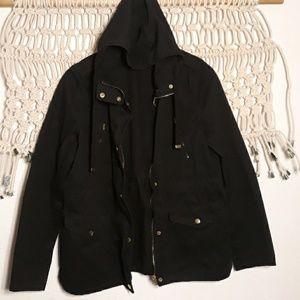 Love Tree black gold hardware hood utility jacket